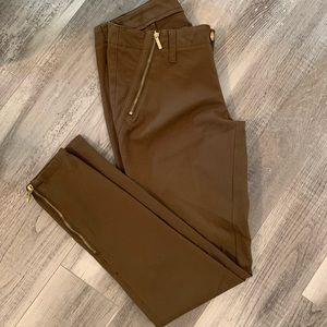 Michael Kors Moto gold zip pants